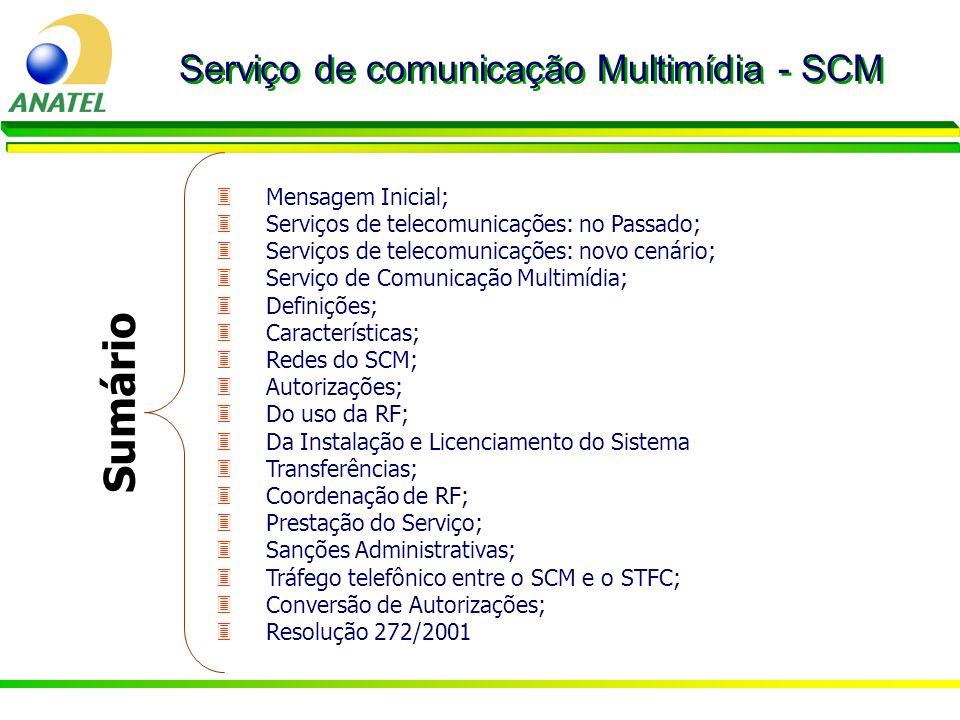 3Mensagem Inicial; 3Serviços de telecomunicações: no Passado; 3Serviços de telecomunicações: novo cenário; 3Serviço de Comunicação Multimídia; 3Defini