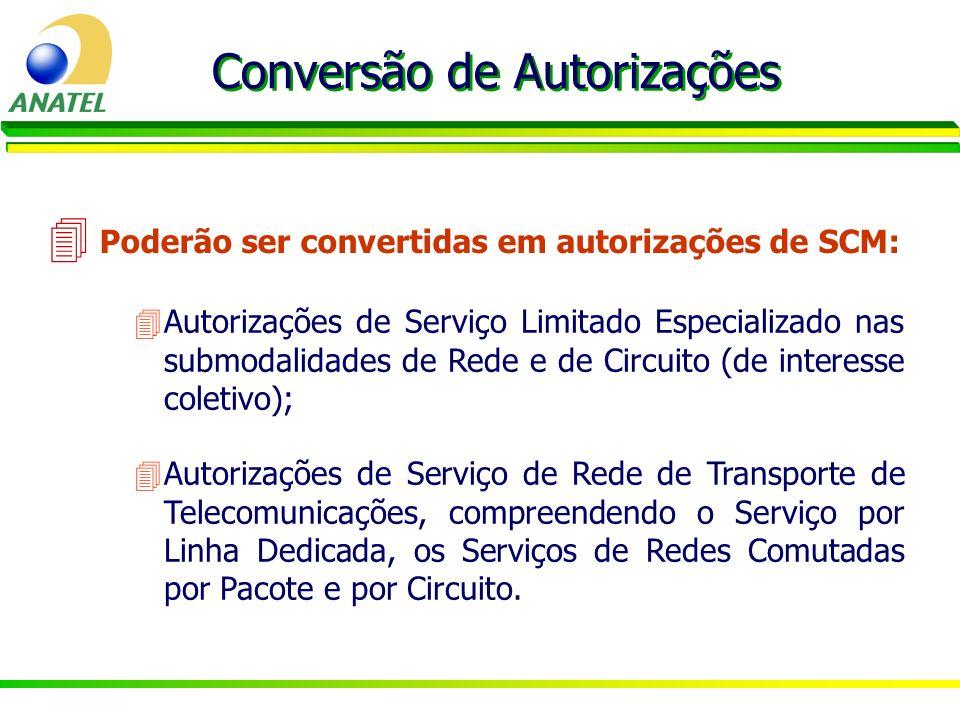 4Autorizações de Serviço Limitado Especializado nas submodalidades de Rede e de Circuito (de interesse coletivo); Conversão de Autorizações 4 Poderão