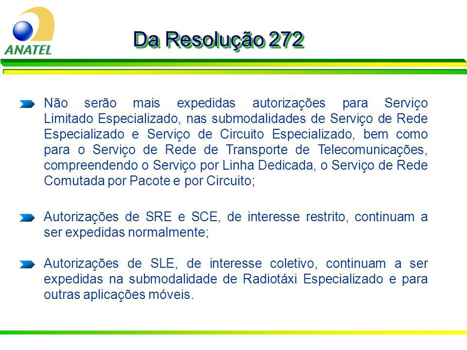 Da Resolução 272 Não serão mais expedidas autorizações para Serviço Limitado Especializado, nas submodalidades de Serviço de Rede Especializado e Serv