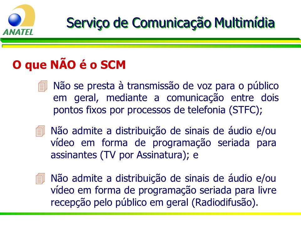O que NÃO é o SCM Serviço de Comunicação Multimídia 4 Não se presta à transmissão de voz para o público em geral, mediante a comunicação entre dois po