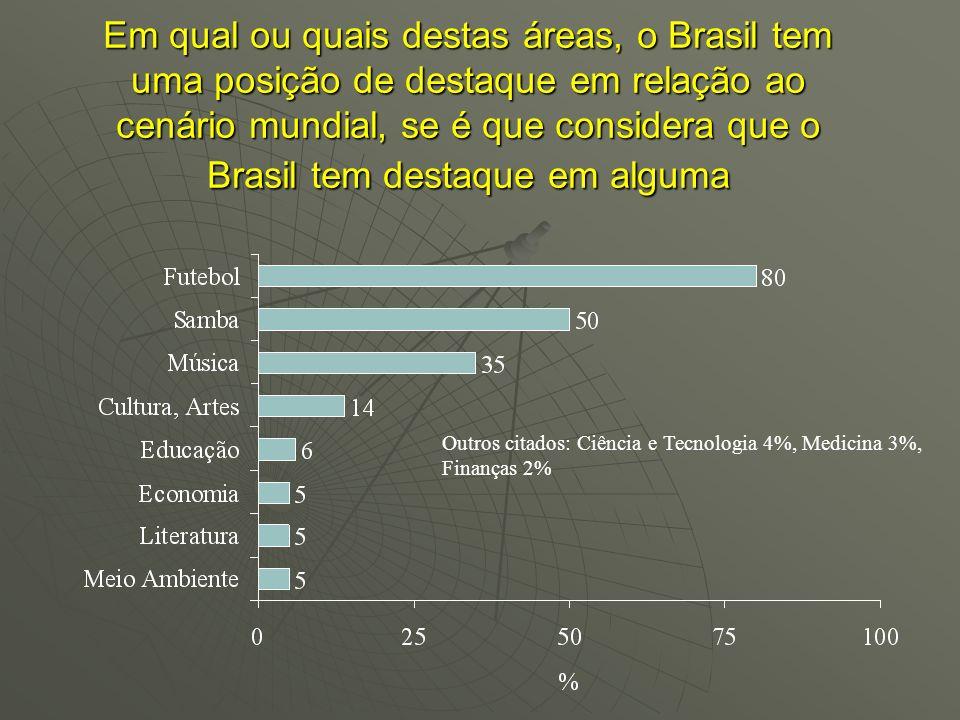 Em qual ou quais destas áreas, o Brasil tem uma posição de destaque em relação ao cenário mundial, se é que considera que o Brasil tem destaque em alg