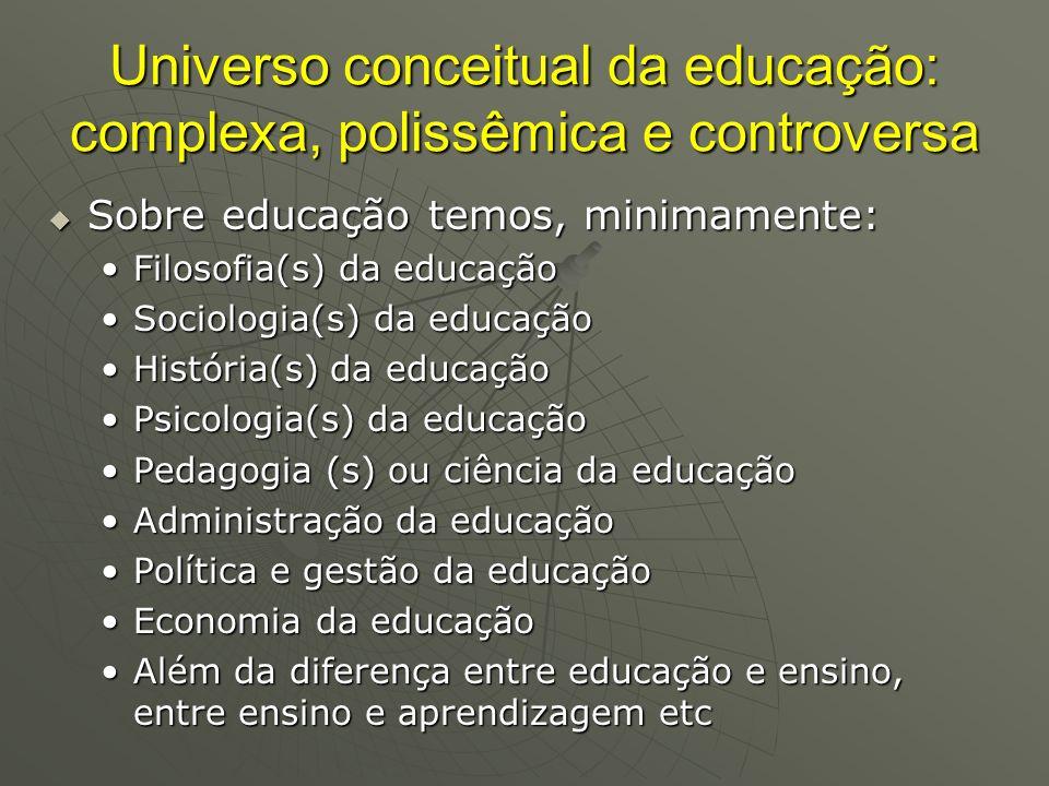 Universo conceitual da educação: complexa, polissêmica e controversa Sobre educação temos, minimamente: Sobre educação temos, minimamente: Filosofia(s