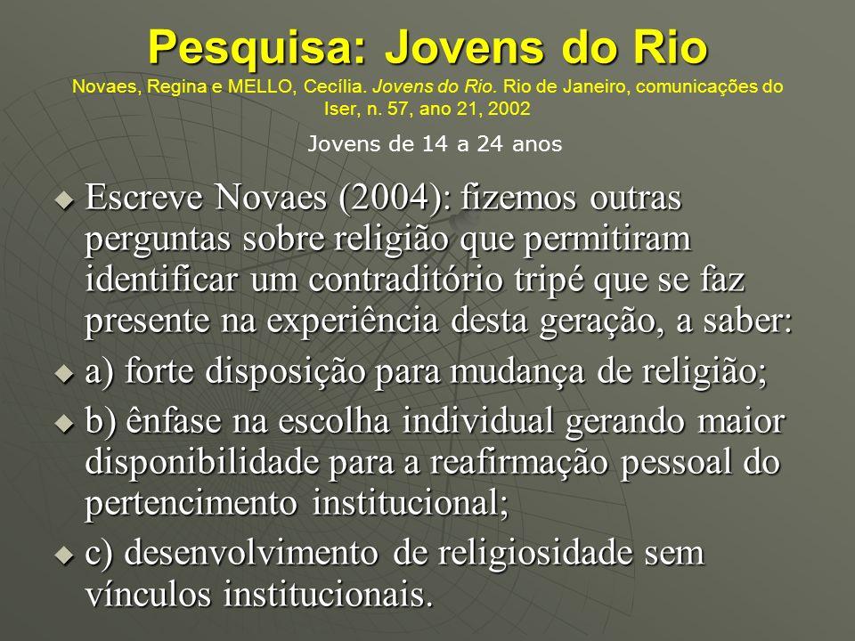 Pesquisa: Jovens do Rio Pesquisa: Jovens do Rio Novaes, Regina e MELLO, Cecília. Jovens do Rio. Rio de Janeiro, comunicações do Iser, n. 57, ano 21, 2