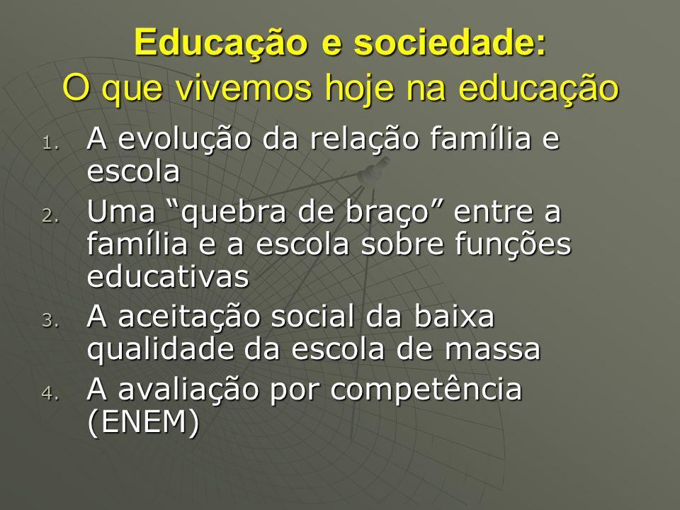 Educação e sociedade: O que vivemos hoje na educação 1. A evolução da relação família e escola 2. Uma quebra de braço entre a família e a escola sobre