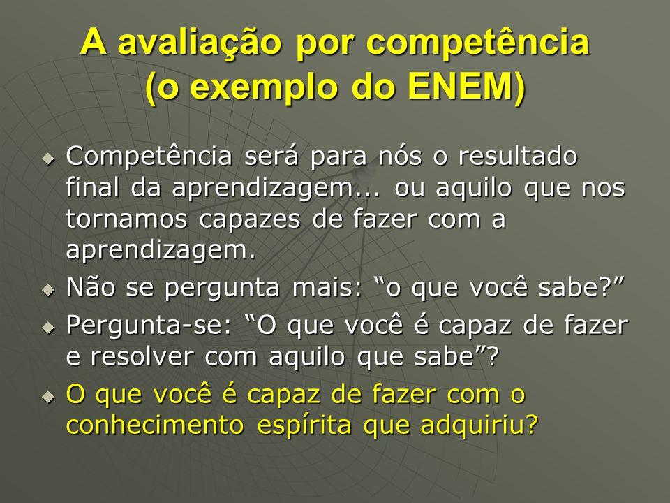 A avaliação por competência (o exemplo do ENEM) Competência será para nós o resultado final da aprendizagem... ou aquilo que nos tornamos capazes de f
