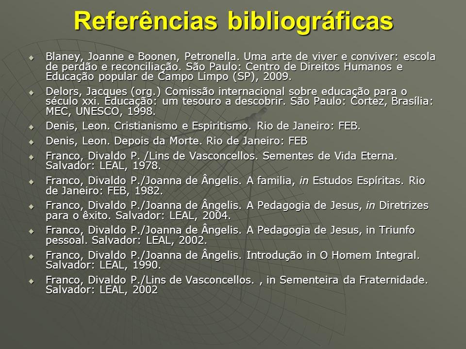 Referências bibliográficas Blaney, Joanne e Boonen, Petronella. Uma arte de viver e conviver: escola de perdão e reconciliação. São Paulo: Centro de D