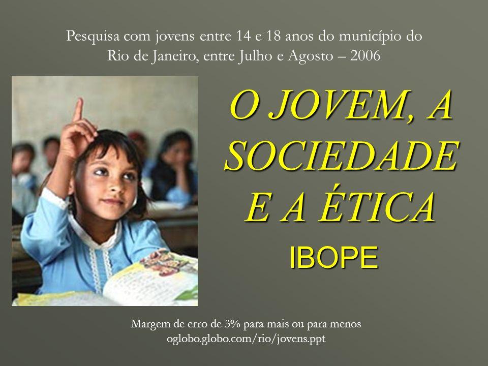 O JOVEM, A SOCIEDADE E A ÉTICA Margem de erro de 3% para mais ou para menos oglobo.globo.com/rio/jovens.ppt IBOPE Pesquisa com jovens entre 14 e 18 an