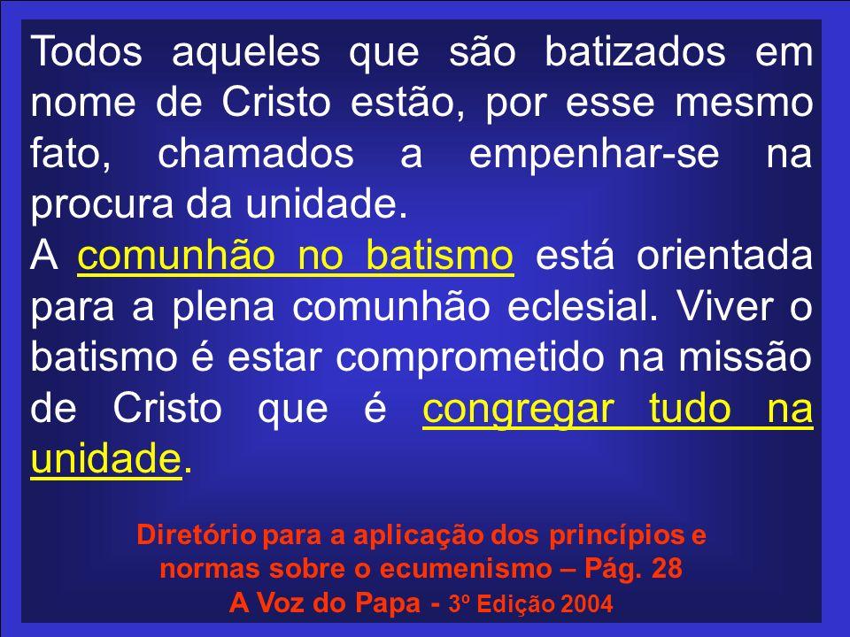 Todos aqueles que são batizados em nome de Cristo estão, por esse mesmo fato, chamados a empenhar-se na procura da unidade. A comunhão no batismo está