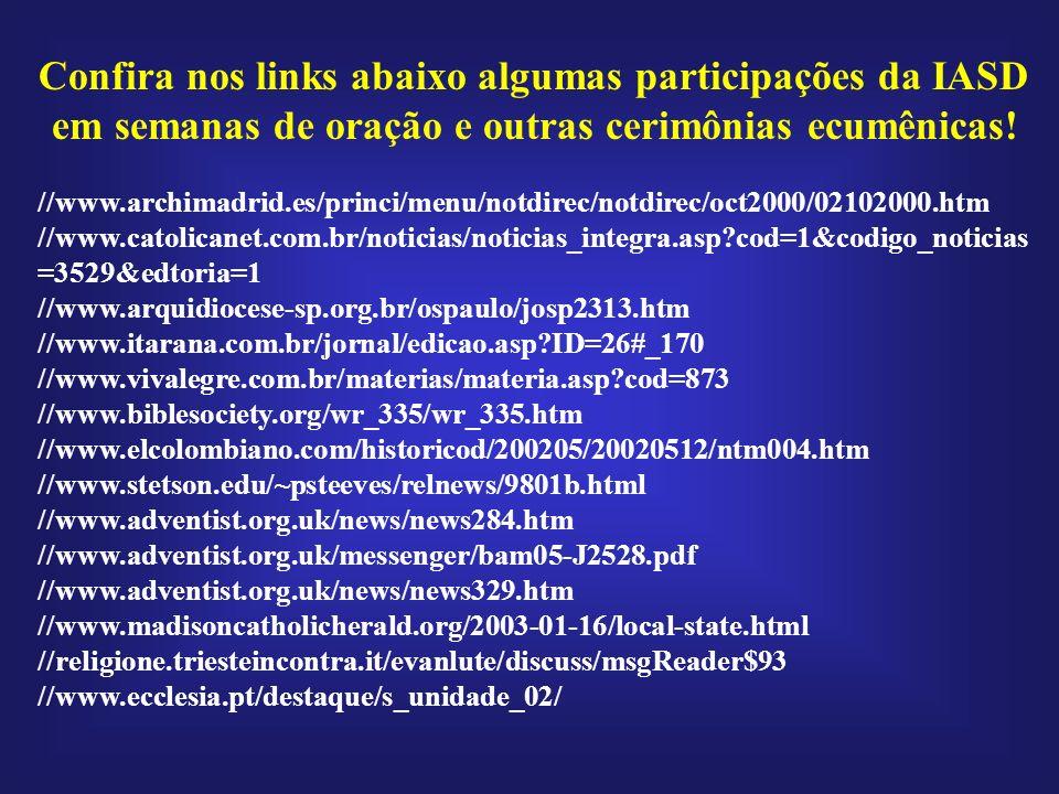 Confira nos links abaixo algumas participações da IASD em semanas de oração e outras cerimônias ecumênicas! //www.archimadrid.es/princi/menu/notdirec/