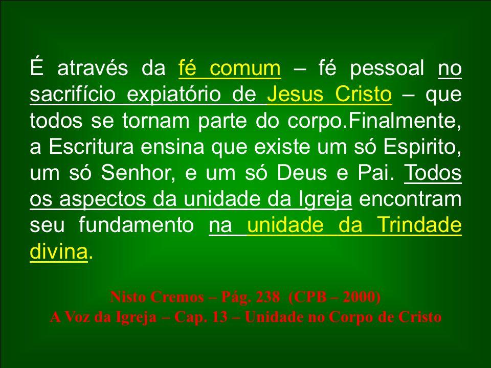 É através da fé comum – fé pessoal no sacrifício expiatório de Jesus Cristo – que todos se tornam parte do corpo.Finalmente, a Escritura ensina que ex
