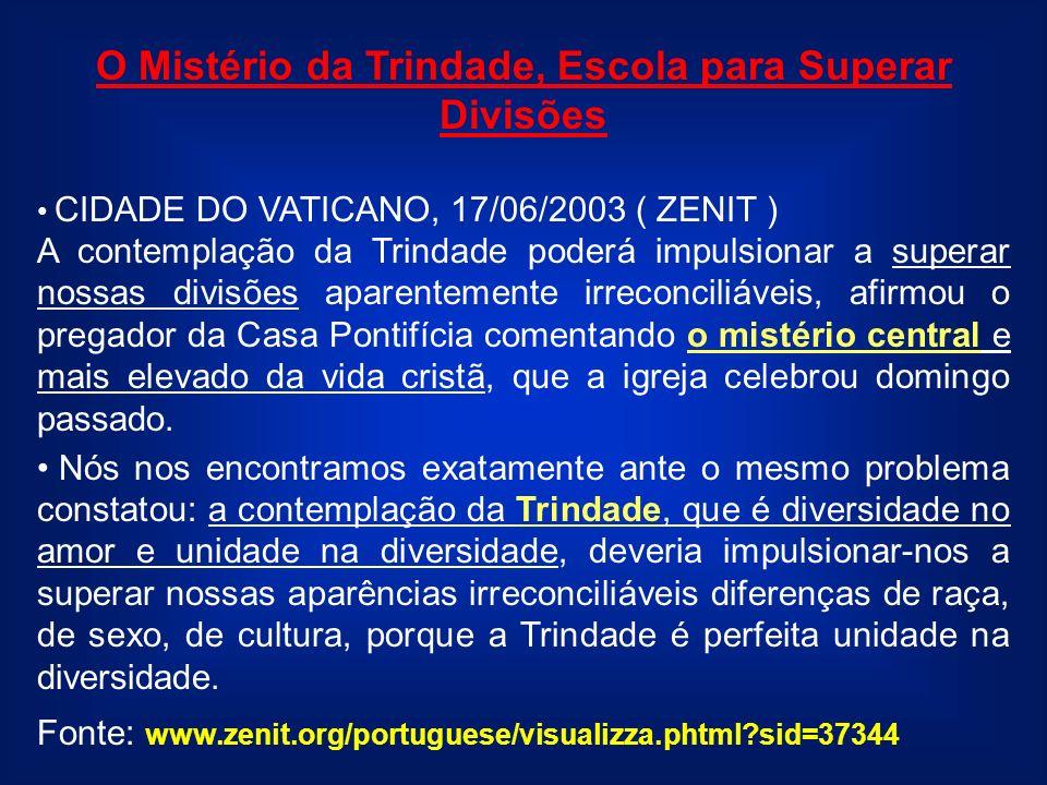 O Mistério da Trindade, Escola para Superar Divisões CIDADE DO VATICANO, 17/06/2003 ( ZENIT ) A contemplação da Trindade poderá impulsionar a superar