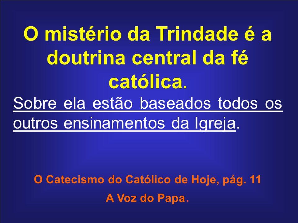O mistério da Trindade é a doutrina central da fé católica. Sobre ela estão baseados todos os outros ensinamentos da Igreja. O Catecismo do Católico d