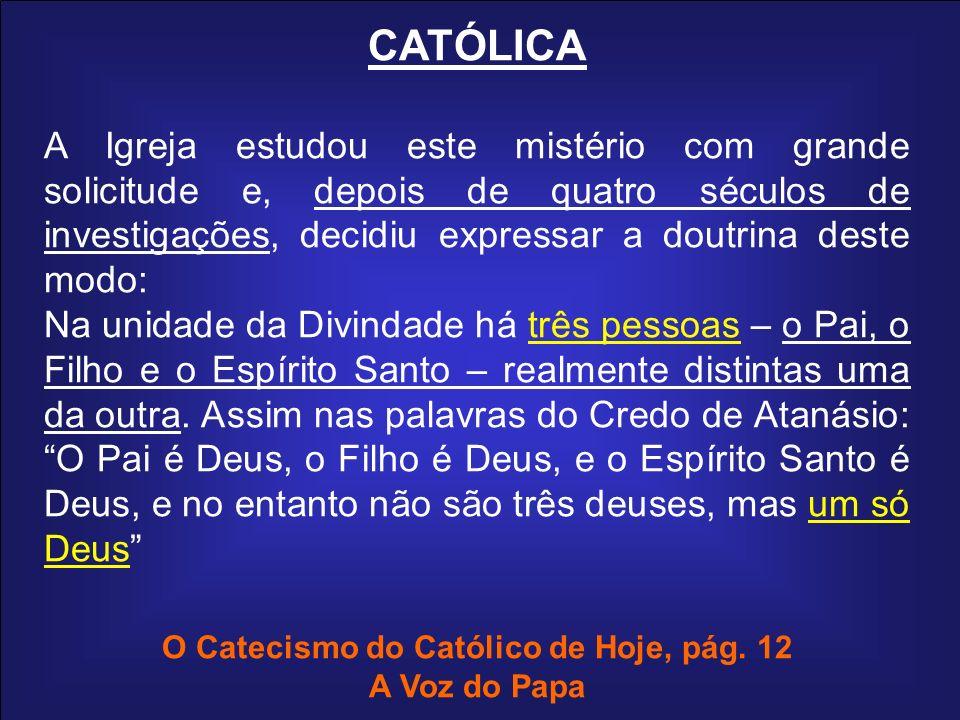CATÓLICA A Igreja estudou este mistério com grande solicitude e, depois de quatro séculos de investigações, decidiu expressar a doutrina deste modo: N