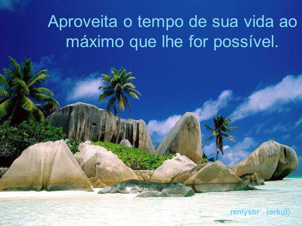Aproveita o tempo de sua vida ao máximo que lhe for possível. remysbr. (orkut)