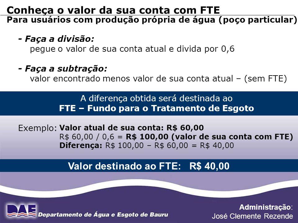 FONTE DE DADOS: DIVISÃO DE PLANEJAMENTO Conheça o valor da sua conta com FTE Para usuários com produção própria de água (poço particular) - Faça a div