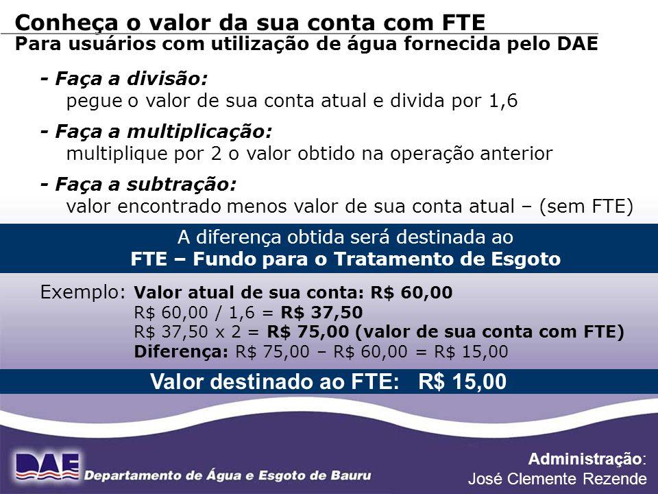 FONTE DE DADOS: DIVISÃO DE PLANEJAMENTO Conheça o valor da sua conta com FTE Para usuários com utilização de água fornecida pelo DAE - Faça a divisão: