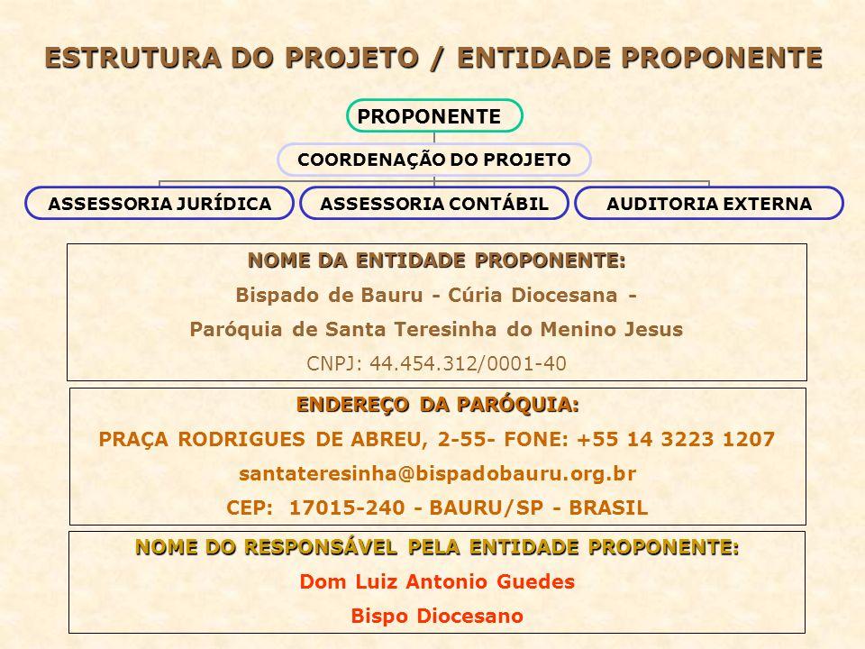 ESTRUTURA DO PROJETO / ENTIDADE PROPONENTE PROPONENTE COORDENAÇÃO DO PROJETO ASSESSORIA JURÍDICA ASSESSORIA CONTÁBIL AUDITORIA EXTERNA NOME DA ENTIDAD