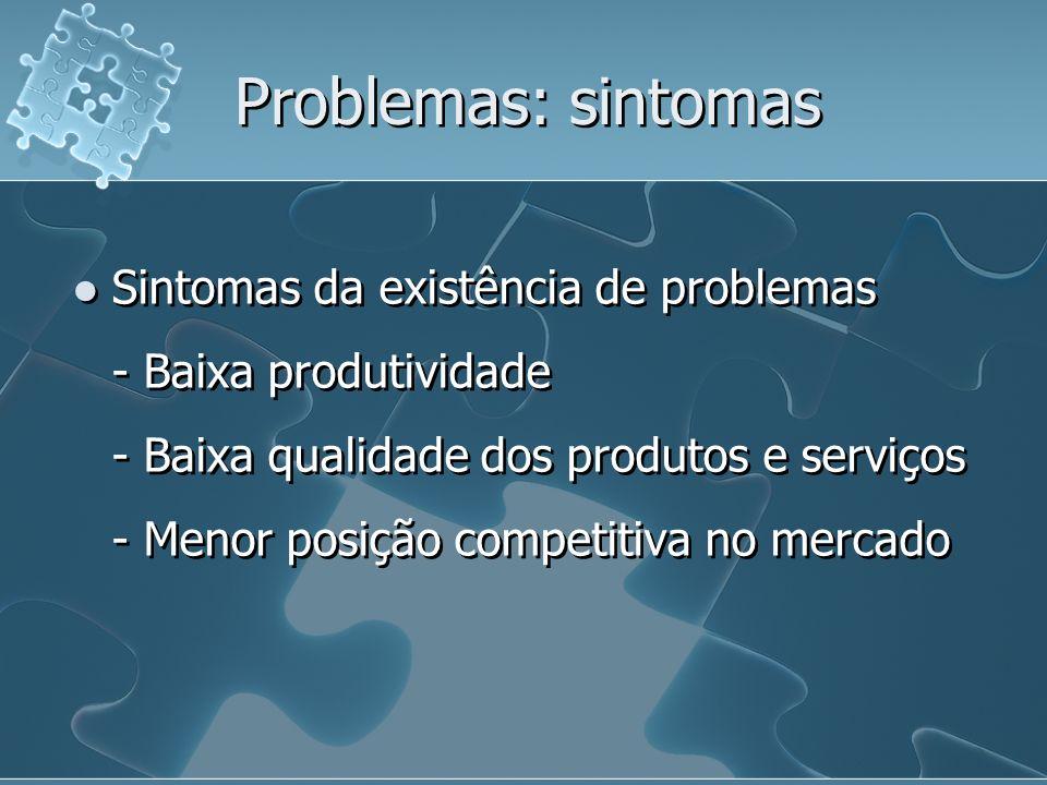 Problemas: sintomas Sintomas da existência de problemas - Baixa produtividade - Baixa qualidade dos produtos e serviços - Menor posição competitiva no