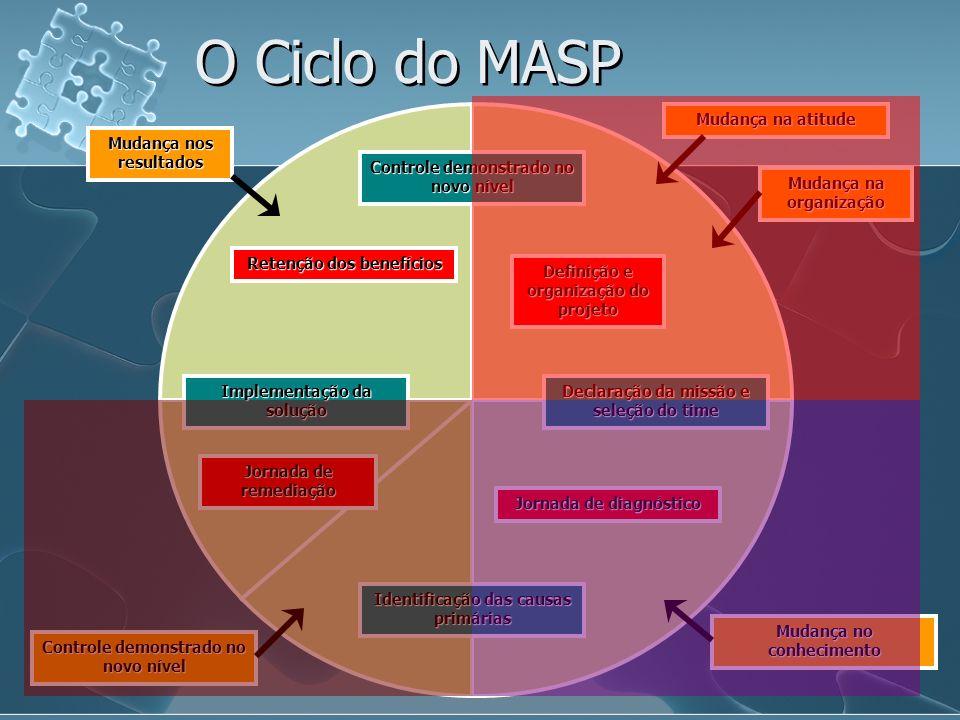 Controle demonstrado no novo nível Definição e organização do projeto Mudança na atitude Mudança na organização Declaração da missão e seleção do time