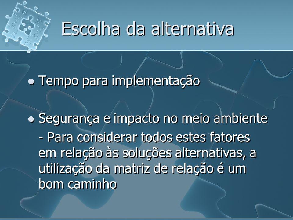 Escolha da alternativa Tempo para implementação Segurança e impacto no meio ambiente - Para considerar todos estes fatores em relação às soluções alte