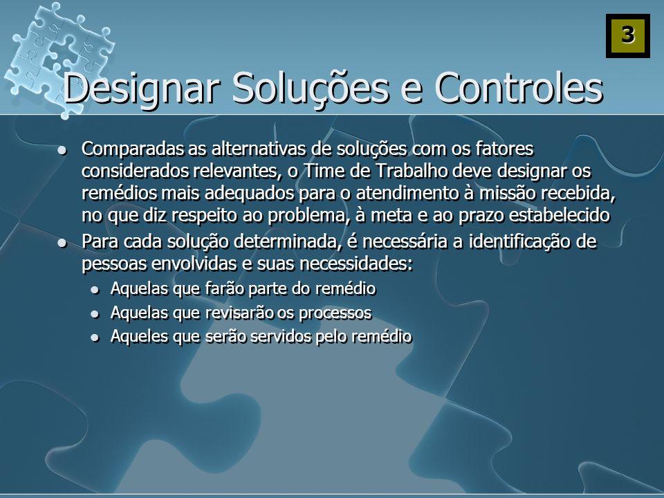 Designar Soluções e Controles Comparadas as alternativas de soluções com os fatores considerados relevantes, o Time de Trabalho deve designar os reméd