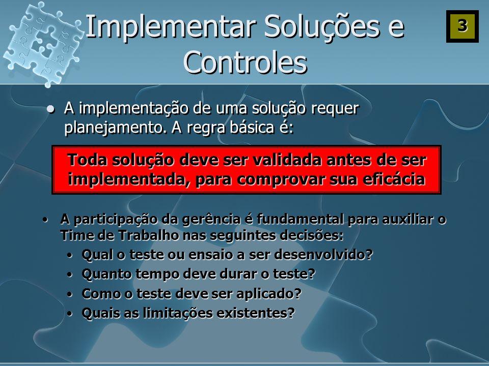 Implementar Soluções e Controles A implementação de uma solução requer planejamento. A regra básica é: Toda solução deve ser validada antes de ser imp