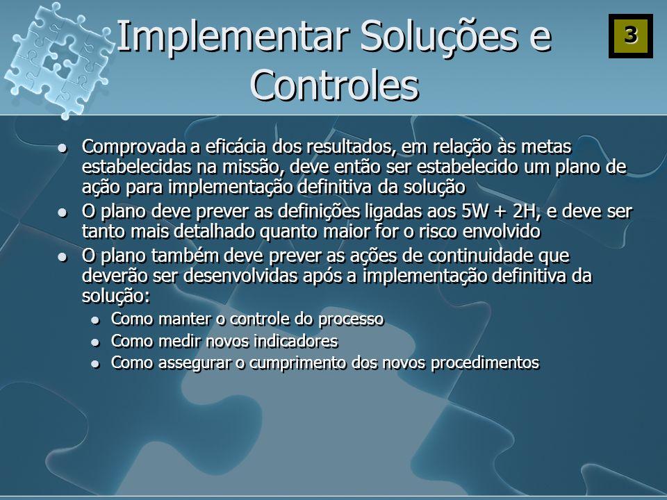 Implementar Soluções e Controles Comprovada a eficácia dos resultados, em relação às metas estabelecidas na missão, deve então ser estabelecido um pla