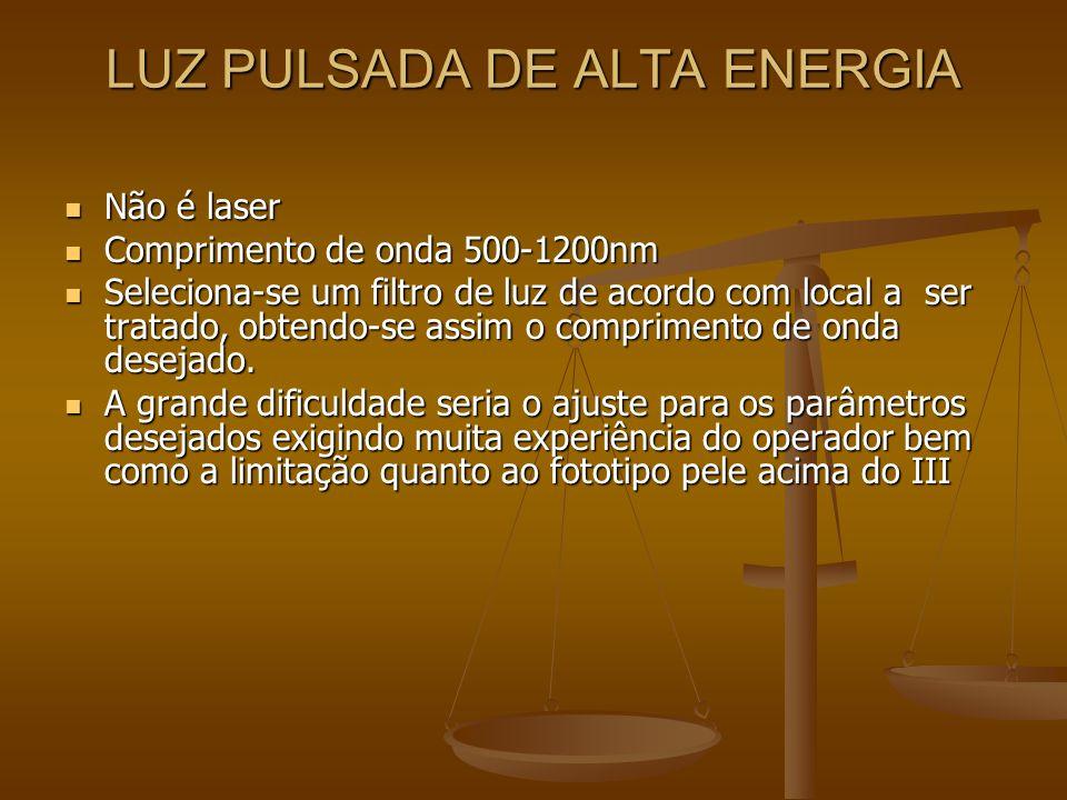 PRINCIPAIS APARELHOS PARA TRATAMETO MÉDICO Dye Laser Dye Laser Nd:YAG 532 Nd:YAG 532 Laser de Diodo Laser de Diodo Luz Pulsada de Alta Energia Luz Pulsada de Alta Energia Nd:YAG de pulso longo (1064) Nd:YAG de pulso longo (1064)