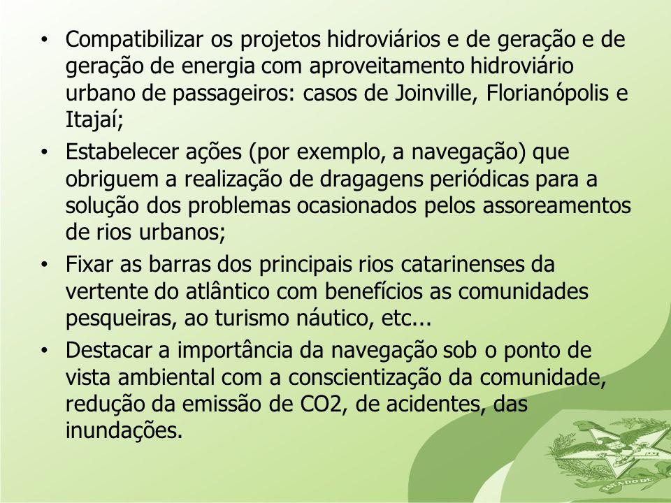 Compatibilizar os projetos hidroviários e de geração e de geração de energia com aproveitamento hidroviário urbano de passageiros: casos de Joinville,