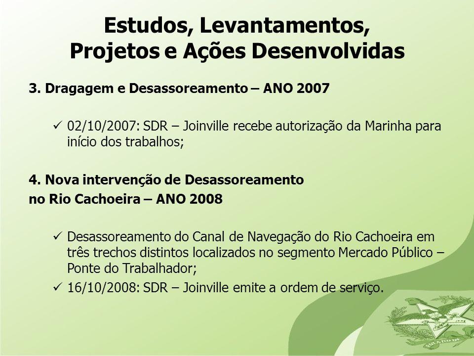 3. Dragagem e Desassoreamento – ANO 2007 02/10/2007: SDR – Joinville recebe autorização da Marinha para início dos trabalhos; 4. Nova intervenção de D