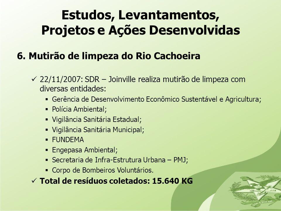 6. Mutirão de limpeza do Rio Cachoeira 22/11/2007: SDR – Joinville realiza mutirão de limpeza com diversas entidades: Gerência de Desenvolvimento Econ