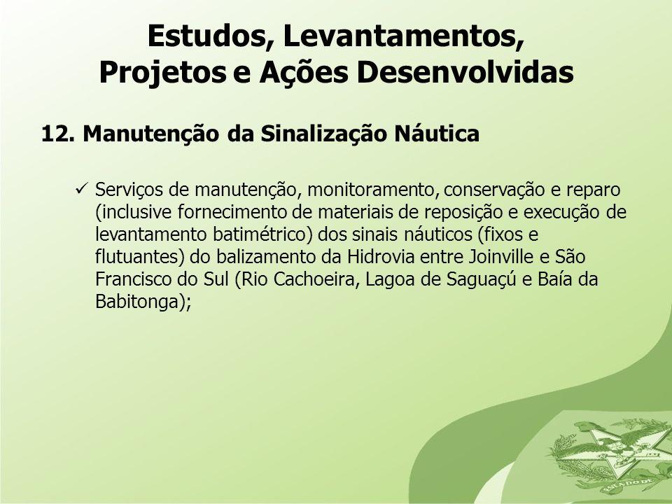 12. Manutenção da Sinalização Náutica Serviços de manutenção, monitoramento, conservação e reparo (inclusive fornecimento de materiais de reposição e