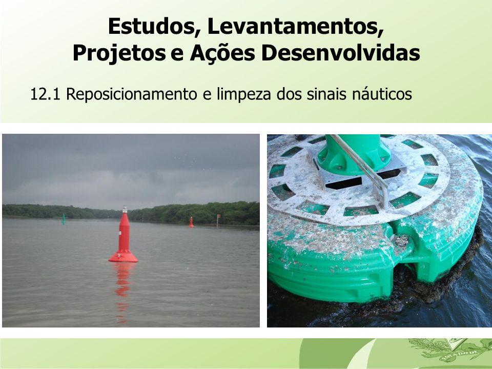 12.1 Reposicionamento e limpeza dos sinais náuticos Estudos, Levantamentos, Projetos e Ações Desenvolvidas