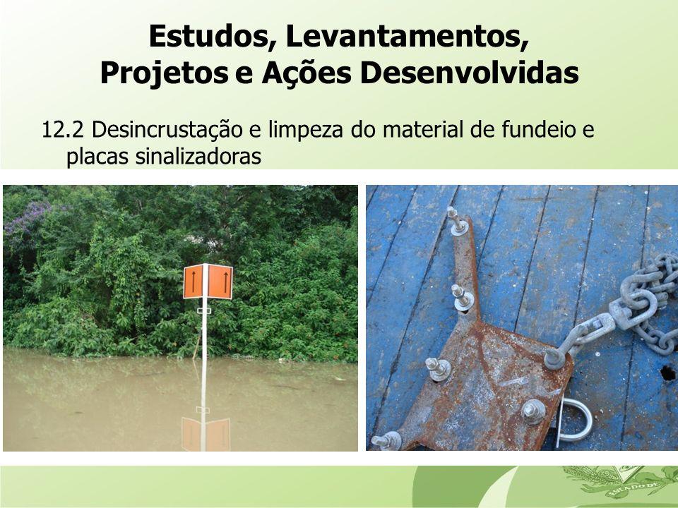12.2 Desincrustação e limpeza do material de fundeio e placas sinalizadoras Estudos, Levantamentos, Projetos e Ações Desenvolvidas