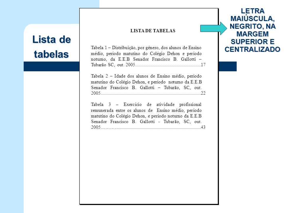 LISTA DE TABELAS Tabela 1 – Distribuição, por gênero, dos alunos de Ensino médio, período matutino do Colégio Dehon e período noturno, da E.E.B Senado
