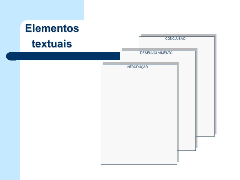 Elementos textuais CONCLUSÂO DESENVOLVIMENTO INTRODUÇÂO