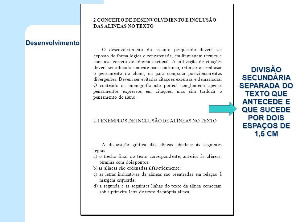2 CONCEITO DE DESENVOLVIMENTO E INCLUSÃO DAS ALINEAS NO TEXTO O desenvolvimento do assunto pesquisado deverá ser exposto de forma lógica e concatenada