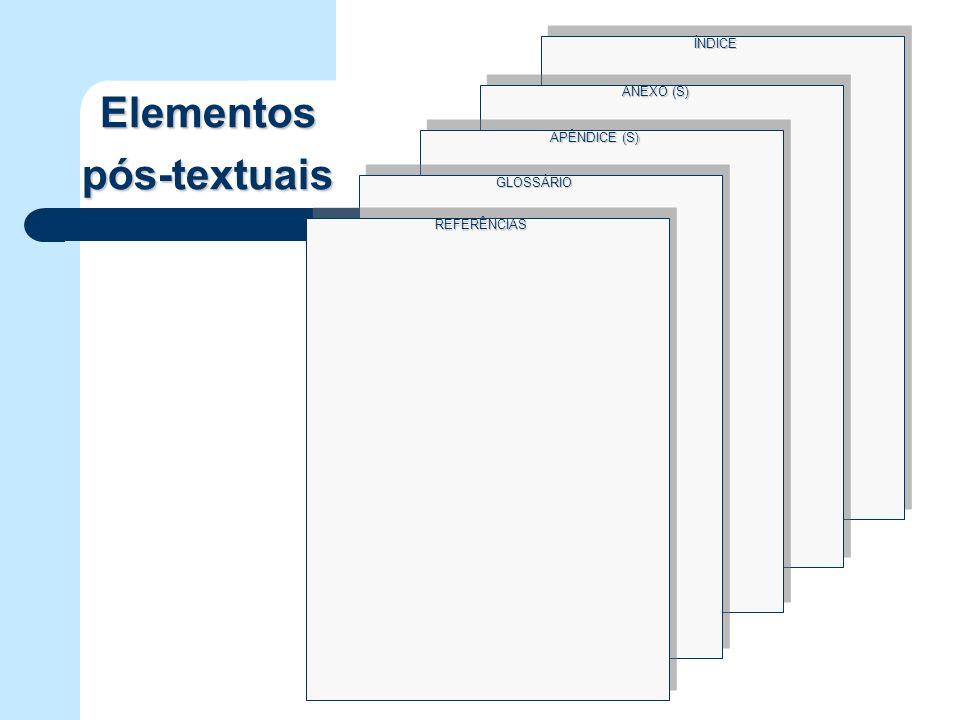 ÍNDICE ANEXO (S) Elementos pós-textuais APÊNDICE (S) GLOSSÁRIO REFERÊNCIAS