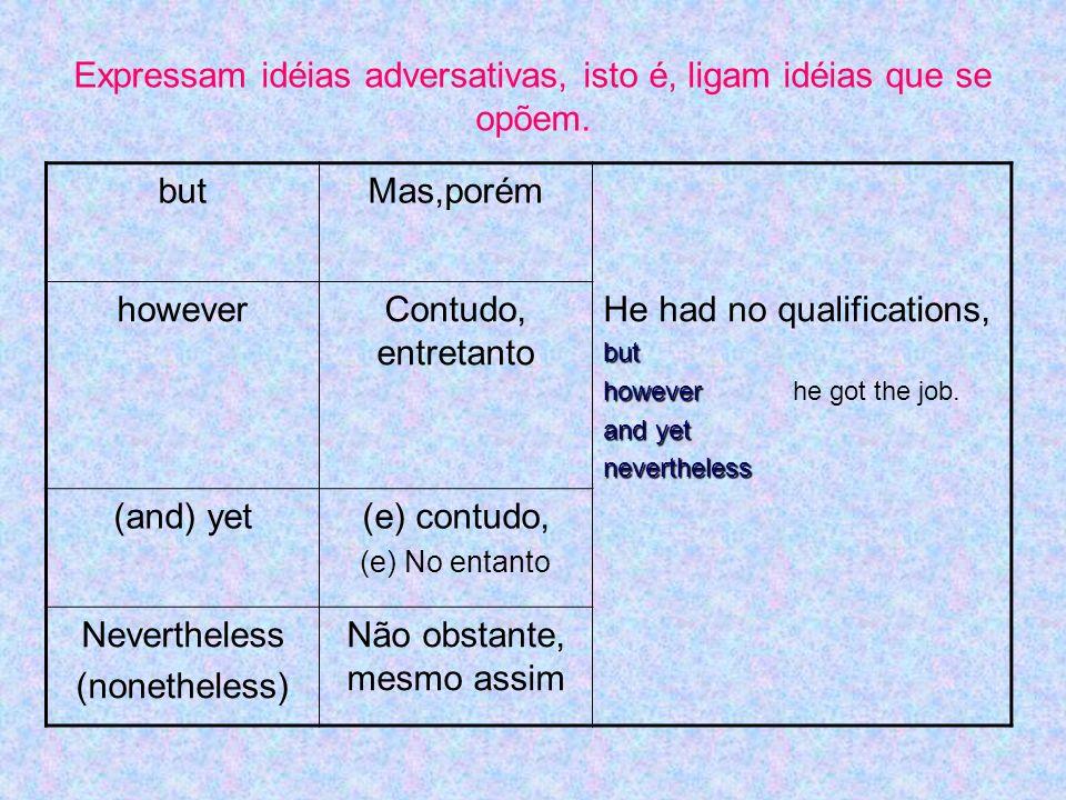 butMas,porém howeverContudo, entretanto He had no qualifications,but however however he got the job. and yet nevertheless (and) yet(e) contudo, (e) No