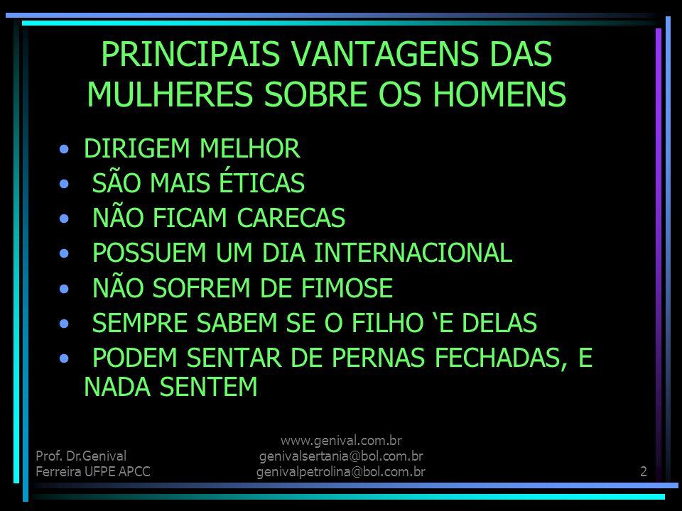Prof. Dr.Genival Ferreira UFPE APCC www.genival.com.br genivalsertania@bol.com.br genivalpetrolina@bol.com.br1 A MULHER E DEMAIS!!!!! QUE O DIGAM AS C