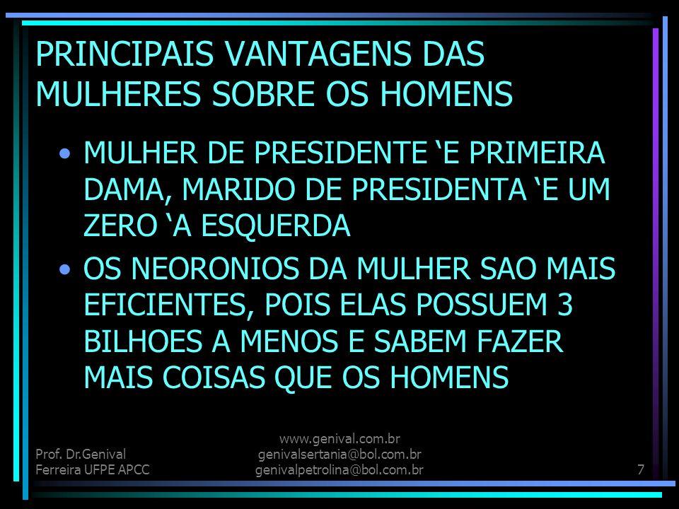 Prof. Dr.Genival Ferreira UFPE APCC www.genival.com.br genivalsertania@bol.com.br genivalpetrolina@bol.com.br6 PRINCIPAIS VANTAGENS DAS MULHERES SOBRE