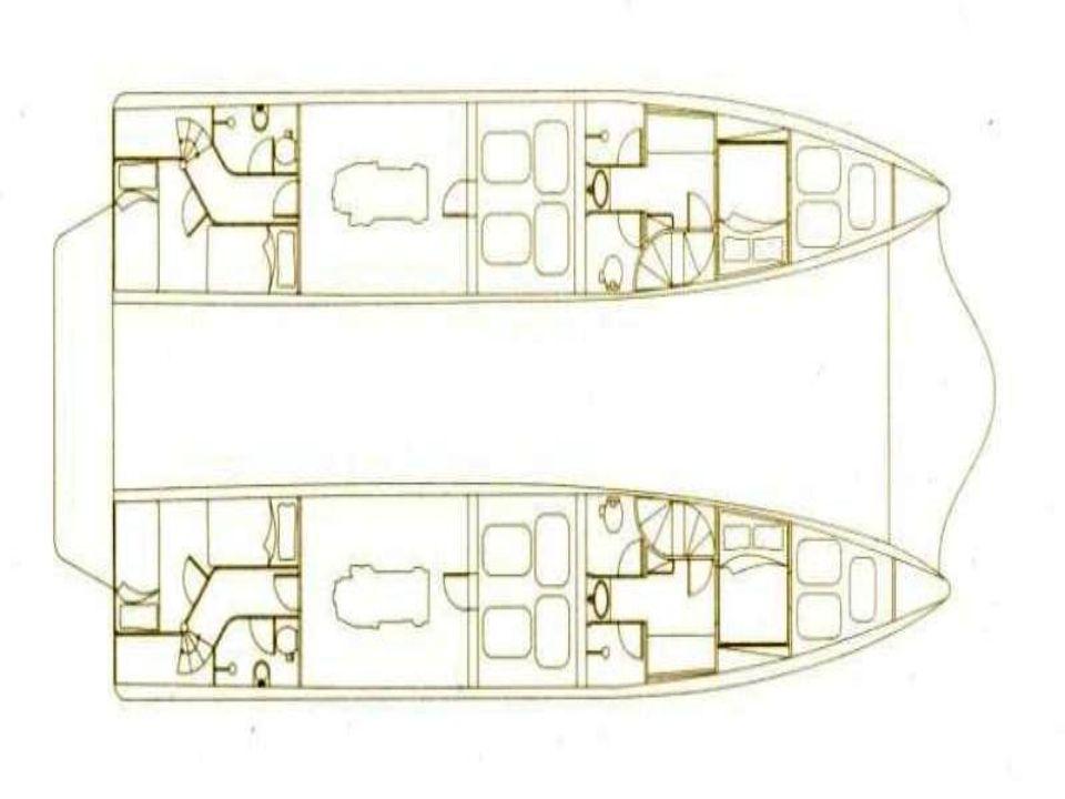 O deck, com bar coberto, pode descer à altura da água...