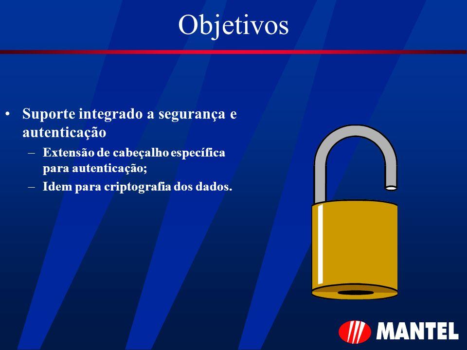 Objetivos Suporte integrado a segurança e autenticação –Extensão de cabeçalho específica para autenticação; –Idem para criptografia dos dados.