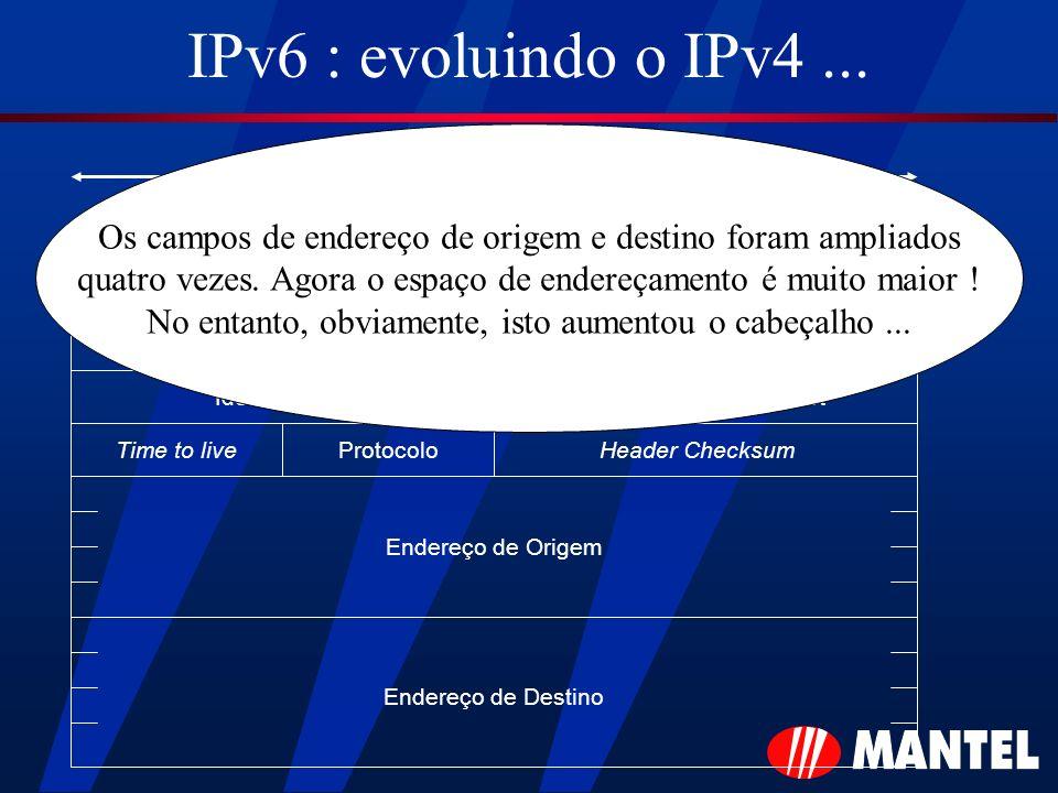 IPv6 : evoluindo o IPv4... Versão Tipo de Serviço Comprimento Total Identificação Time to liveProtocoloHeader Checksum Fragment Offset MFMF DFDF 32 bi