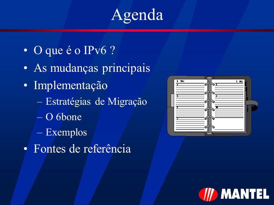 Agenda O que é o IPv6 ? As mudanças principais Implementação –Estratégias de Migração –O 6bone –Exemplos Fontes de referência