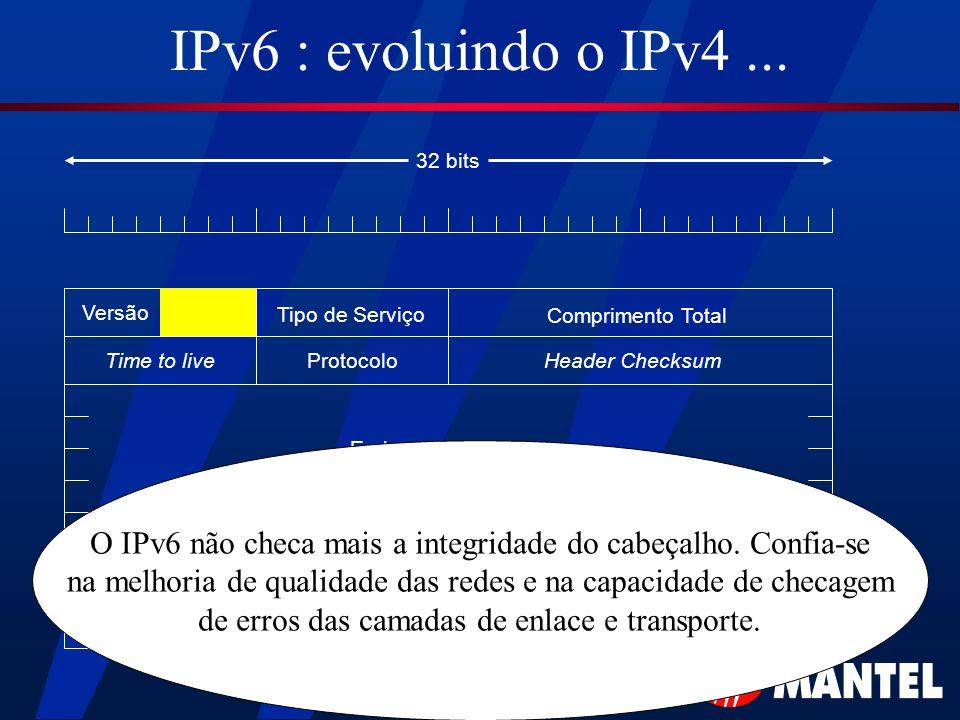 IPv6 : evoluindo o IPv4... Versão Tipo de Serviço Comprimento Total Time to liveProtocolo Endereço de Origem Endereço de Destino Header Checksum 32 bi