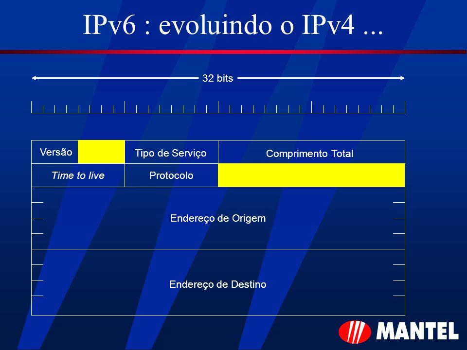 IPv6 : evoluindo o IPv4... Versão Tipo de Serviço Comprimento Total Time to liveProtocolo Endereço de Origem Endereço de Destino 32 bits