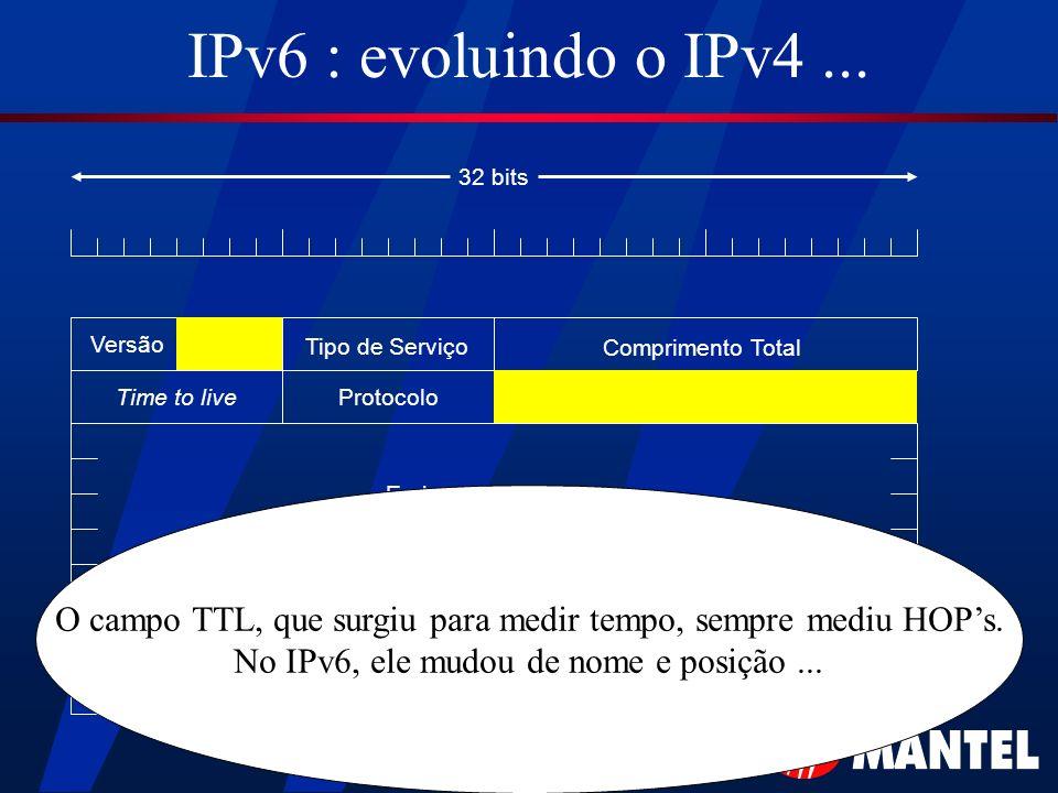 IPv6 : evoluindo o IPv4... Versão Tipo de Serviço Comprimento Total Time to liveProtocolo Endereço de Origem Endereço de Destino 32 bits O campo TTL,