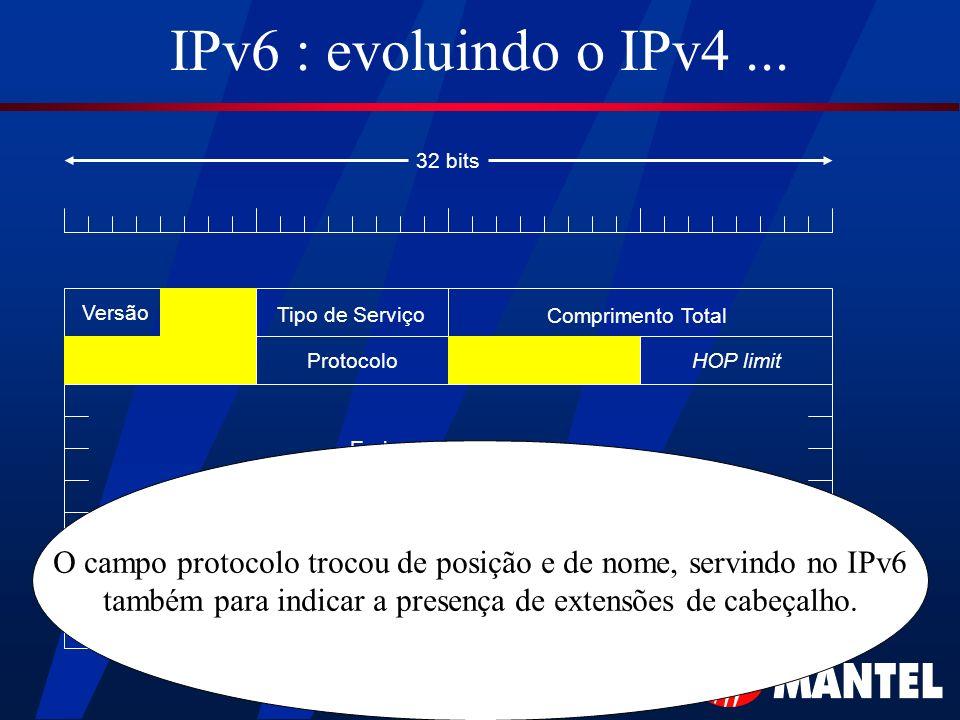 IPv6 : evoluindo o IPv4... Versão Tipo de Serviço Comprimento Total HOP limitProtocolo Endereço de Origem Endereço de Destino 32 bits O campo protocol