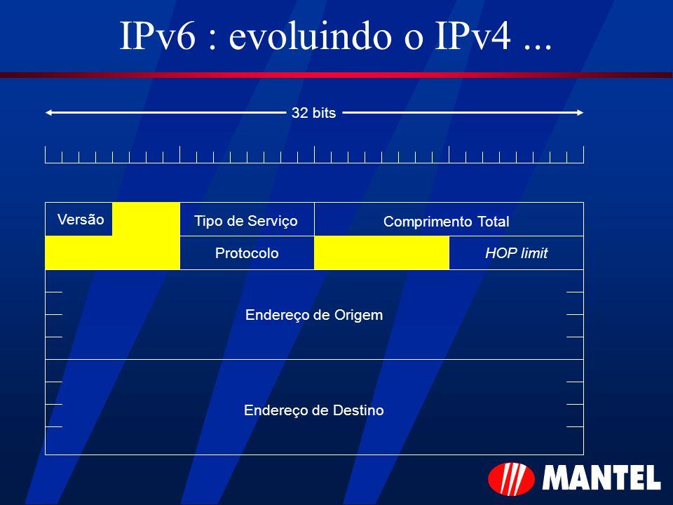 IPv6 : evoluindo o IPv4... Versão Tipo de Serviço Comprimento Total HOP limitProtocolo Endereço de Origem Endereço de Destino 32 bits